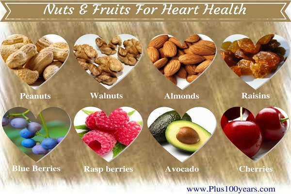 Nuts and fruits for healthy heart